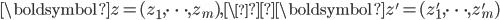 \boldsymbol{z}=(z_1, \dots, z_m), \\boldsymbol{z}'=(z_1', \dots, z_m')