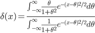 \delta(x) = \frac{\int_{-\infty}^{\infty} \frac{\theta}{1+\theta^2}e^{-(x-\theta)^2/2} d\theta}{\int_{-\infty}^{\infty} \frac{1}{1+\theta^2}e^{-(x-\theta)^2/2} d\theta}