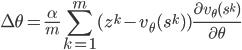 \displaystyle \Delta \theta = \frac{\alpha}{m} \sum_{k=1}^m (z^k - v_\theta(s^k)) \frac{\partial v_\theta(s^k)}{\partial \theta}