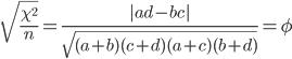\displaystyle  \sqrt{ \frac{\chi ^2}{n} }  =\frac{|ad-bc|}{\sqrt{(a+b)(c+d)(a+c)(b+d)}} =\phi