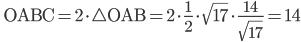 \displaystyle \; \mathrm{OABC}=2\cdot \bigtriangleup \mathrm{OAB}=2\cdot \frac{1}{2}\cdot \sqrt{17}\cdot \frac{14}{\sqrt{17}}=14
