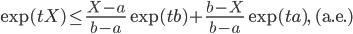 \displaystyle \exp(tX)\le\frac{X-a}{b-a}\exp(tb)+\frac{b-X}{b-a}\exp(ta),\quad(\mathrm{a.e.})