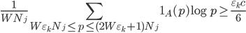 \displaystyle \frac{1}{WN_j}\sum_{W\varepsilon_kN_j \leq p \leq (2W\varepsilon_k+1)N_j}\mathbf{1}_A(p)\log p \geq  \frac{\varepsilon_kc}{6}