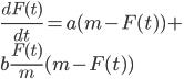 \displaystyle \frac{dF(t)}{dt}=a(m-F(t))+\\~~~~b\frac{F(t)}{m}(m-F(t))
