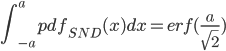 \displaystyle \int_{-a}^{a}pdf_{SND}(x)dx=erf(\frac{a}{\sqrt{2}})