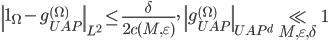\displaystyle \left\|\mathbf{1}_{\Omega}-g_{UAP}^{(\Omega)}\right\|_{L^2} \leq \frac{\delta}{2c(M, \varepsilon)}, \quad \left\|g_{UAP}^{(\Omega)}\right\|_{UAP^d} \ll_{M, \varepsilon, \delta} 1