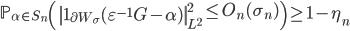 \displaystyle \mathbb{P}_{\alpha \in S_n}\left( \left\|\mathbf{1}_{\partial W_{\sigma}}(\varepsilon^{-1}G- \alpha)\right\|_{L^2}^2 \leq O_n(\sigma_n)\right) \geq 1-\eta_n