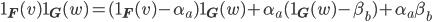 \displaystyle \mathbf{1}_{\mathbf{F}}(v)\mathbf{1}_{\mathbf{G}}(w) = (\mathbf{1}_{\mathbf{F}}(v)-\alpha_a)\mathbf{1}_{\mathbf{G}}(w) + \alpha_a(\mathbf{1}_{\mathbf{G}}(w)-\beta_b)+\alpha_a\beta_b
