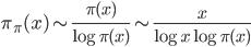 \displaystyle \pi_{\pi} (x) \sim \frac{\pi (x)}{\log \pi (x)} \sim \frac{x}{\log x \log \pi (x)}