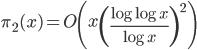 \displaystyle \pi_2(x) = O\left( x\left( \frac{\log \log x}{\log x} \right)^2 \right)