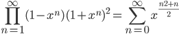 \displaystyle \prod_{n=1}^{\infty}(1-x^n)(1+x^n)^2 = \sum_{n=0}^{\infty}x^{\frac{n^2+n}{2}}
