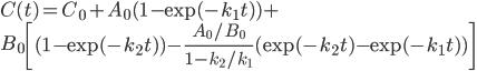 \displaystyle C(t) = C_0 + A_0 (1-\exp(-k_1 t)) +\\ ~~~~B_0 \left[ (1-\exp(-k_2 t)) - \frac{A_0/B_0}{1-k_2/k_1}(\exp(-k_2 t)- \exp(-k_1 t)) \right]