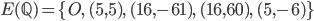 \displaystyle E(\mathbb{Q}) = \{ O, \ (5, 5), \ (16, -61), \ (16, 60), \ (5, -6)\}
