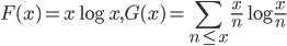 \displaystyle F(x)=x\log x, G(x) = \sum_{n \leq x}\frac{x}{n}\log \frac{x}{n}