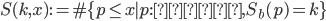 \displaystyle S(k, x):= \# \{ p \leq x \mid p : \text{素数}, S_b(p) = k\}