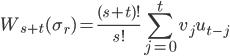 \displaystyle W_{s+t}(\sigma_r) = \frac{(s+t)!}{s!}\sum_{j=0}^tv_ju_{t-j}