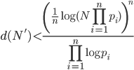 \displaystyle d(N') < \frac{\left(\frac{1}{n}\log(N\prod_{i=1}^np_i)\right)^n}{\prod_{i=1}^n\log p_i}