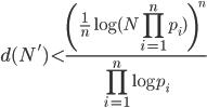 \displaystyle d(N') < \frac{\left(\frac{1}{n}\log(N\prod_{i=1}^np_i)\right)^n}{\prod_{i=1}^n\log p_i}