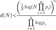 \displaystyle d(N) < \frac{\left(\frac{1}{n}\log(N\prod_{i=1}^np_i)\right)^n}{\prod_{i=1}^n\log p_i}