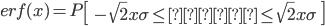 \displaystyle erf(x)=P\left[\ -\sqrt{2}x\sigma \leq 誤差\leq\sqrt{2}x\sigma\ \right]