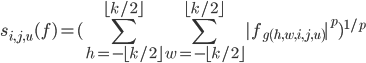 \displaystyle s_{i,j,u}(f)=(\sum_{h=-\lfloor k/2\rfloor}^{\lfloor k/2\rfloor}\sum_{w=-\lfloor k/2\rfloor}^{\lfloor k/2\rfloor}|f_{g(h,w,i,j,u)}|^p)^{1/p}