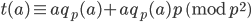 \displaystyle t(a) \equiv aq_p(a)+aq_p(a)p \pmod{p^2}