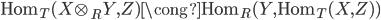 \displaystyle{ \mathrm{Hom}_T (X \otimes_R Y, Z) \cong \mathrm{Hom}_R(Y, \mathrm{Hom}_T(X, Z)) }