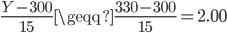 \displaystyle{ \frac{Y-300}{15} \geqq \frac{330-300}{15} = 2.00 }