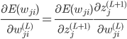 \frac{\partial E({w_{ji}})}{\partial {w_{ji}^{(L)}}}=\frac{\partial E({w_{ji}})}{\partial {z_{j}^{(L+1)}}} \frac{\partial z_{j}^{(L+1)}}{\partial {w_{ji}^{(L)}}}