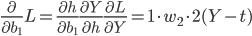 \frac{\partial}{\partial b_{1}} L = \frac{\partial h}{\partial b_{1}} \frac{\partial Y}{\partial h} \frac{\partial L}{\partial Y} = 1 \cdot w_{2} \cdot 2(Y-t)