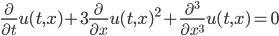 \frac{\partial}{\partial t} u(t,x) + 3\frac{\partial}{\partial x} u(t,x)^2 + \frac{\partial^3}{\partial x^3} u(t,x) = 0