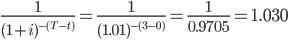 \frac{1}{(1+i) ^{-(T-t)}} = \frac{1}{(1.01) ^{-(3-0)} } = \frac{1}{0.9705} = 1.030