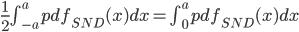\frac{1}{2}\int_{-a}^a pdf_{SND}(x)dx=\int_{0}^a pdf_{SND}(x)dx