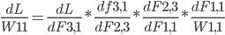 \frac{dL}{{W11}}= \frac{dL}{dF3,1} * \frac{df3,1}{dF2,3} * \frac{dF2,3}{dF1,1} *\frac{dF1,1}{W1,1}