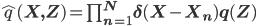 \hat q(\mathbf X,\mathbf Z) = \prod_{n=1}^N \delta(\mathbf X-\mathbf X_n)q(\mathbf Z)