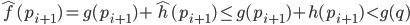 \hat{f}(p_{i+1}) = g(p_{i+1}) + \hat{h}(p_{i+1}) \leq g(p_{i+1}) + h(p_{i+1}) < g(q)