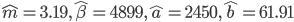 \hat{m}=3.19, \hat{\beta}=4899, \hat{a}=2450, \hat{b}=61.91
