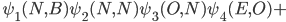 \hspace{0.9cm}\psi_1(N,B)\psi_2(N,N)\psi_3(O,N)\psi_4(E,O)+