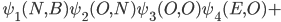 \hspace{0.9cm}\psi_1(N,B)\psi_2(O,N)\psi_3(O,O)\psi_4(E,O)+