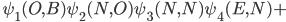 \hspace{0.9cm}\psi_1(O,B)\psi_2(N,O)\psi_3(N,N)\psi_4(E,N)+