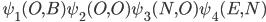 \hspace{0.9cm}\psi_1(O,B)\psi_2(O,O)\psi_3(N,O)\psi_4(E,N)