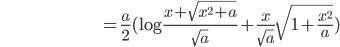 \hspace{100pt}=\frac{a}{2}(\log \frac{x+\sqrt{x^2+a}}{\sqrt{a}} + \frac{x}{\sqrt{a}}\sqrt{1+\frac{x^2}{a}})