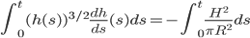 \int_{0}^{t} (h(s))^{3/2}\frac{dh}{ds}(s) ds=-\int_{0}^{t}\frac{H^2}{\pi R^2}ds