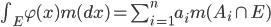 \int_E \varphi(x) m(dx) = \sum^n_{i=1}a_i m(A_i \cap E)