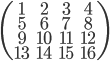 \left( \begin{array}{ccc} 1 & 2 & 3 & 4 \\ 5 & 6 & 7 & 8 \\  9 & 10 & 11 & 12 \\ 13 & 14 & 15 & 16 \end{array} \right)