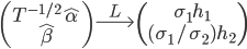 \left\( \begin{array} T^{-1/2} \hat{\alpha} \\ \hat{\beta} \end{array} \right\) \stackrel{L}\longrightarrow \left\( \begin{array} \sigma_1 h_1 \\ (\sigma_1 / \sigma_2) h_2 \end{array} \right\)