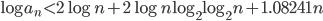 \log a_n < 2\log n+2\log n\log_2\log_2 n + 1.08241n