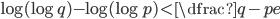 \log(\log q)-\log(\log p)\lt\dfrac{q-p}{e}
