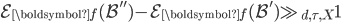 \mathcal{E}_{\boldsymbol{f}}(\mathcal{B}'')-\mathcal{E}_{\boldsymbol{f}}(\mathcal{B}') \gg_{d, \tau, X}1