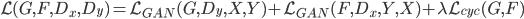 \mathcal{L}(G,F,D_x,D_y) = \mathcal{L}_{GAN}(G,D_y,X,Y) + \mathcal{L}_{GAN}(F,D_x,Y,X) + \lambda \mathcal{L}_{cyc}(G,F)